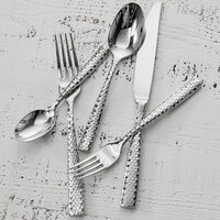 Fortessa 1.5.102.FC.011 Lucca Faceted 7 1/8 inch 18/10 Stainless Steel Extra Heavy Weight Dessert / Soup Spoon - 12/Case