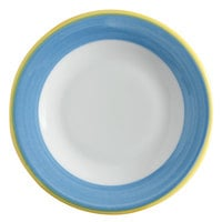 Corona by GET Enterprises PA1601902024 Calypso 8 inch Bright White Porcelain Rolled Edge Plate with Blue and Yellow Rim   - 24/Case