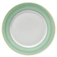 Corona by GET Enterprises PA1603902724 Calypso 10 5/8 inch Bright White Porcelain Rolled Edge Plate with Green and Yellow Rim   - 24/Case