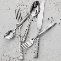 Fortessa 1.5.102.FC.022 Lucca Faceted 4 5/8 inch 18/10 Stainless Steel Extra Heavy Weight Demitasse Spoon - 12/Case