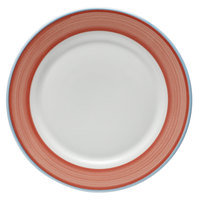 Corona by GET Enterprises PA1602902024 Calypso 8 inch Bright White Porcelain Rolled Edge Plate with Coral and Blue Rim   - 24/Case