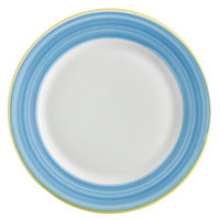 Corona by GET Enterprises PA1601902724 Calypso 10 5/8 inch Bright White Porcelain Rolled Edge Plate with Blue and Yellow Rim   - 24/Case