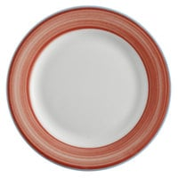 Corona by GET Enterprises PA1602902324 Calypso 9 inch Bright White Porcelain Rolled Edge Plate with Coral and Blue Rim   - 24/Case