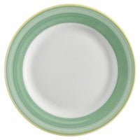 Corona by GET Enterprises PA1603901424 Calypso 6 1/2 inch Bright White Porcelain Rolled Edge Plate with Green and Yellow Rim   - 24/Case