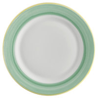 Corona by GET Enterprises PA1603902324 Calypso 9 inch Bright White Porcelain Rolled Edge Plate with Green and Yellow Rim   - 24/Case