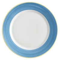 Corona by GET Enterprises PA1601902324 Calypso 9 inch Bright White Porcelain Rolled Edge Plate with Blue and Yellow Rim   - 24/Case