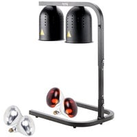 Avantco W62-BLK Black 2 Bulb Free Standing Heat Lamp / Food Warmer with Red Bulbs - 120V, 500W