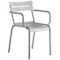 Lancaster Table & Seating Silver Powder Coated Aluminum Outdoor Arm Chair