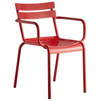 Lancaster Table & Seating Red Powder Coated Aluminum Outdoor Arm Chair