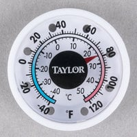 Taylor 5380N 1 3/4 inch Dial Stick-On Indoor / Outdoor Thermometer