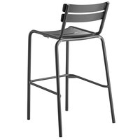 Lancaster Table & Seating Matte Gray Powder Coated Aluminum Outdoor Barstool