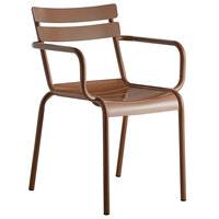 Lancaster Table & Seating Brown Powder Coated Aluminum Outdoor Arm Chair