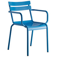 Lancaster Table & Seating Blue Powder Coated Aluminum Outdoor Arm Chair