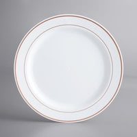 Gold Visions 10 inch White Plastic Plate with Rose Gold Bands - 120/Case