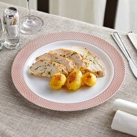 Gold Visions 10 inch White Plastic Plate with Rose Gold Lattice Design - 120/Case