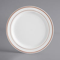 Gold Visions 7 inch White Plastic Plate with Rose Gold Bands - 150/Case