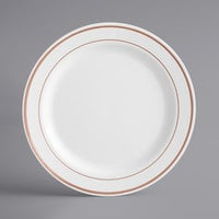 Gold Visions 9 inch White Plastic Plate with Rose Gold Bands - 120/Case