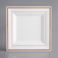 Gold Visions 8 inch Square White Plastic Plate with Rose Gold Bands - 120/Case