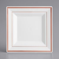 Gold Visions 6 inch Square White Plastic Plate with Rose Gold Bands - 120/Case