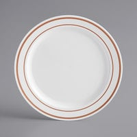 Gold Visions 6 inch White Plastic Plate with Rose Gold Bands - 150/Case