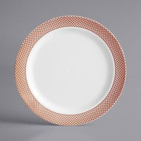Gold Visions 7 inch White Plastic Plate with Rose Gold Lattice Design - 150/Case