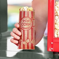 Carnival King 3 inch x 1 1/2 inch x 7 inch 0.6 oz. Kraft Popcorn Bag - 1000/Case