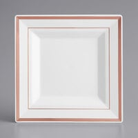 Gold Visions 6 inch Square White Plastic Plate with Rose Gold Bands - 10/Pack