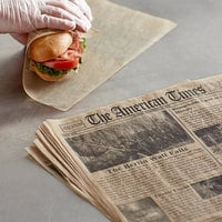 Choice 12 inch x 12 inch Kraft Newspaper Print Deli Sandwich Wrap Paper - 100/Pack