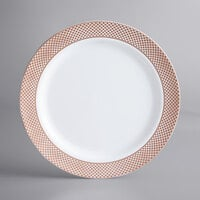 Gold Visions 10 inch White Plastic Plate with Rose Gold Lattice Design - 12/Pack