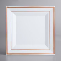 Gold Visions 10 inch Square White Plastic Plate with Rose Gold Bands - 10/Pack