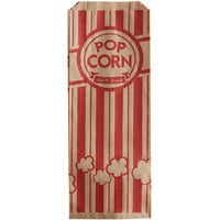 Carnival King 3 3/4 inch x 1 3/4 inch x 9 1/2 inch 1.1 oz. Kraft Popcorn Bag - 1000/Case