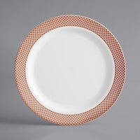 Gold Visions 9 inch White Plastic Plate with Rose Gold Lattice Design - 12/Pack