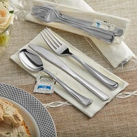 Silver Visions Individually Wrapped Classic Heavy Weight Silver Plastic Cutlery Set with Napkin and Salt and Pepper Packets - 100/Case