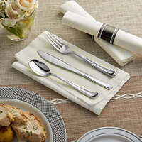 Silver Visions 18 inch x 15 1/2 inch Pre-Rolled Linen-Feel White Napkin and Classic Heavy Weight Silver Plastic Cutlery Set - 100/Case