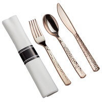 "Gold Visions 18"" x 15 1/2"" Pre-Rolled Linen-Feel White Napkin and Hammersmith Heavy Weight Rose Gold Plastic Cutlery Set - 100/Case"