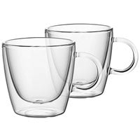 Villeroy & Boch 11-7243-8085 Artesano Barista 8 oz. Double Wall Glass Cup with Handle - 2/Set