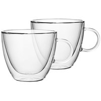 Villeroy & Boch 11-7243-8086 Artesano Barista 14 oz. Double Wall Glass Cup with Handle - 2/Set