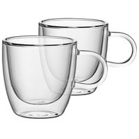Villeroy & Boch 11-7243-8084 Artesano Barista 3.75 oz. Double Wall Glass Cup with Handle - 2/Set