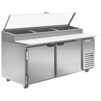 Beverage-Air DP72HC-CL 72 inch 2 Door Clear Lid Refrigerated Pizza Prep Table
