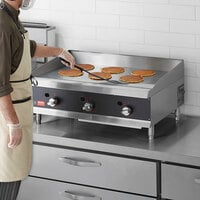 Cooking Performance Group 36N Ultra Series 36 inch Heavy-Duty Chrome Plated Natural Gas 3-Burner Countertop Griddle - 90,000 BTU