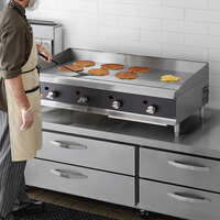 Cooking Performance Group 48N Ultra Series 48 inch Heavy-Duty Chrome Plated Natural Gas 4-Burner Countertop Griddle - 120,000 BTU