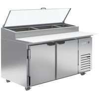 Beverage-Air DP60HC-CL 60 inch 2 Door Clear Lid Refrigerated Pizza Prep Table