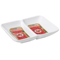 GET 037-L Dynasty Longevity 1 oz. Two Compartment Sauce Dish 4 inch x 3 inch - 24/Case