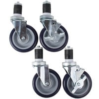 5 inch Heavy Duty Zinc Swivel Stem Casters for Work Tables and Equipment Stands - 4/Set