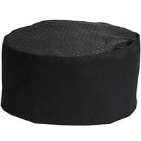 Uncommon Threads 0161 Black Customizable Uncommon Mesh Top Chef Skull Cap / Pill Box Hat with Hook and Loop Closure