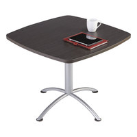 Iceberg 69724 iLand Edgeband 36 inch x 36 inch x 29 inch Grey Walnut Laminate Square Cafe Table