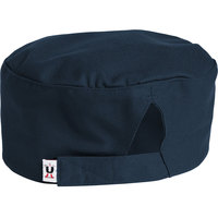 Uncommon Threads 0159 Navy Blue Customizable Uncommon Chef Skull Cap / Pill Box Hat with Hook and Loop Closure