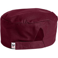 Uncommon Threads 0159 Burgundy Customizable Uncommon Chef Skull Cap / Pill Box Hat with Hook and Loop Closure