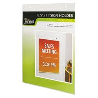 "NuDell 38011Z 8 1/2"" x 11"" Clear Wall Mount Plastic Sign Holder"