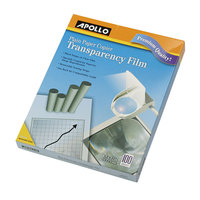 Apollo PP201C Plain Paper Black / White Laser Transparency Film with Handling Strip - 100/Box